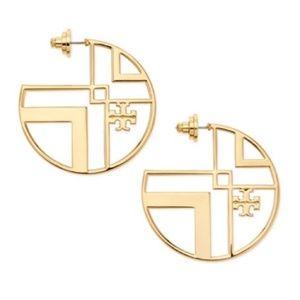 NEW Tory Burch Gold Chevron Cutout Hoop Earrings